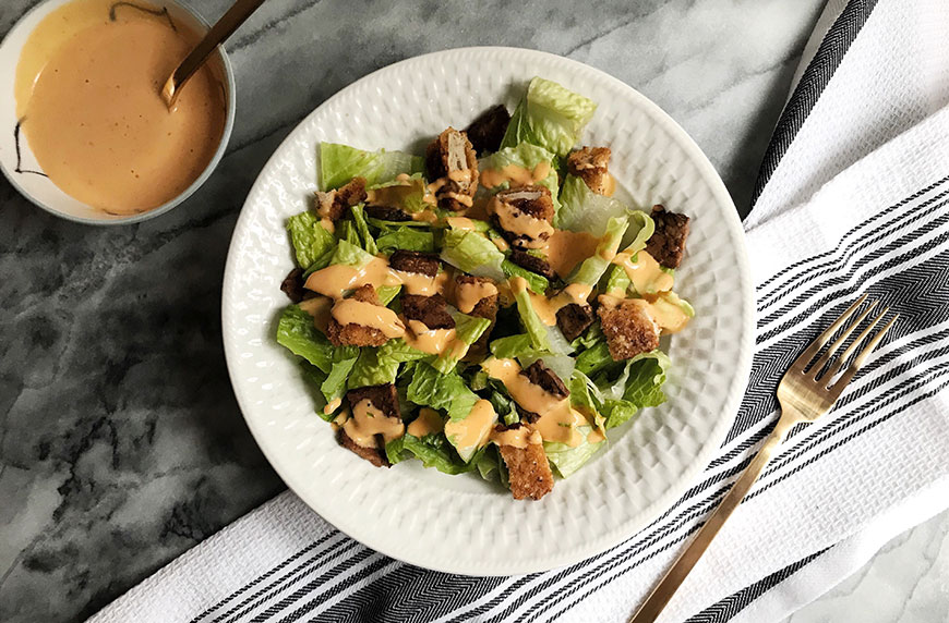spicy vegan caesar salad